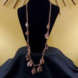 LOFT Rose Gold Dangle Leaf Necklace #551